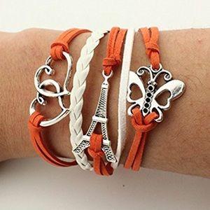 Jewelry - Leather Wrap Heart EiffelTower Bracelet